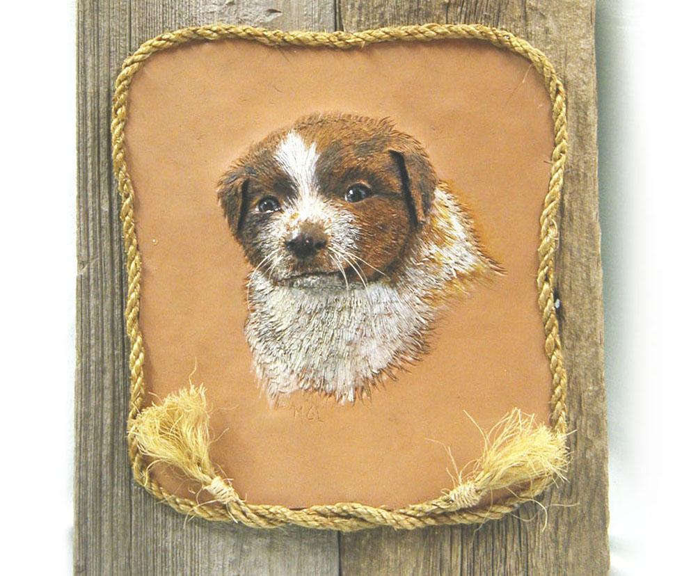 Border collie puppy wall hanging on wood