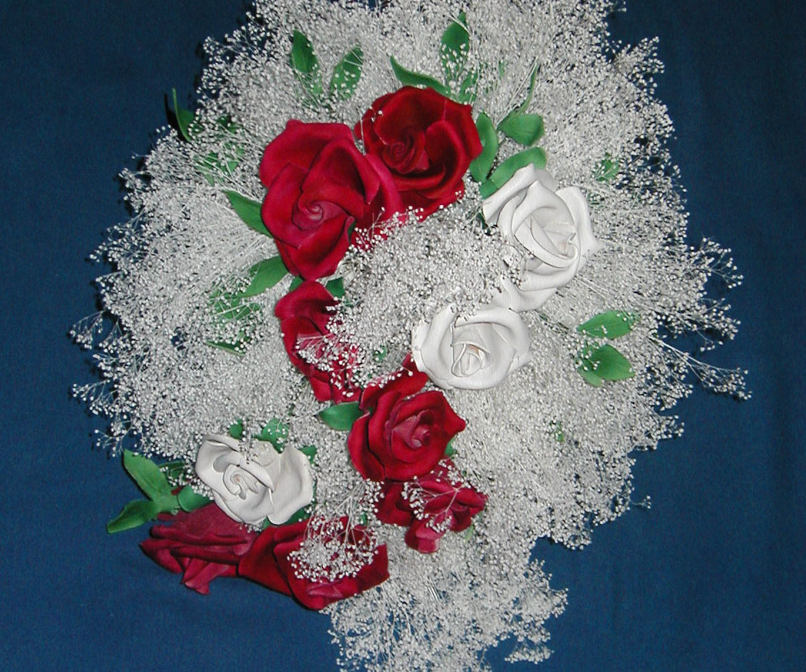 Leather Flower bouquet on blue background