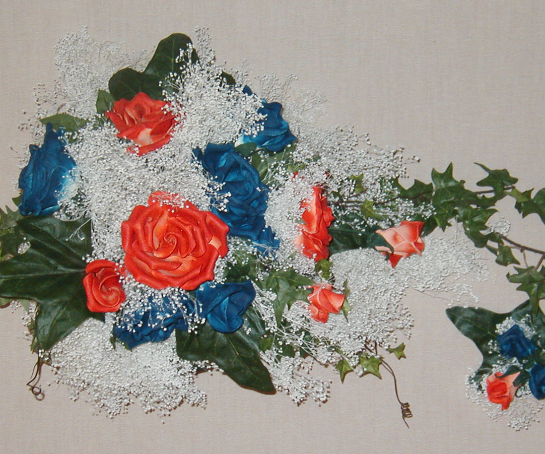 Read and blue leather rose bouquet