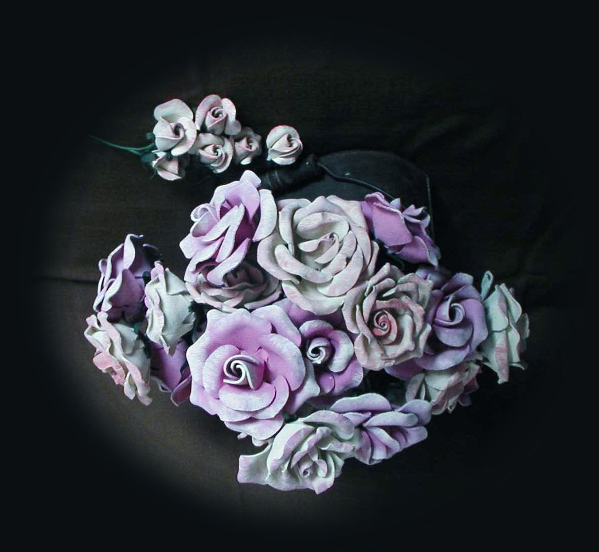 purple and blue leather bouquet